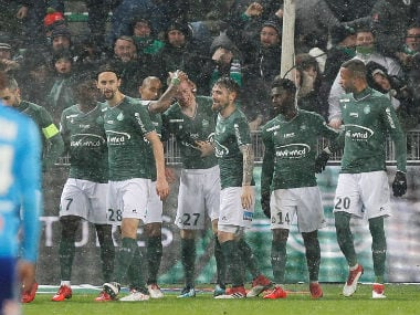 Saint-Etienne's Robert Beric celebrates with team mates after scoring their second goal. Reuters