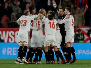 Sevilla players celebrate after beating Leganes. Reuters