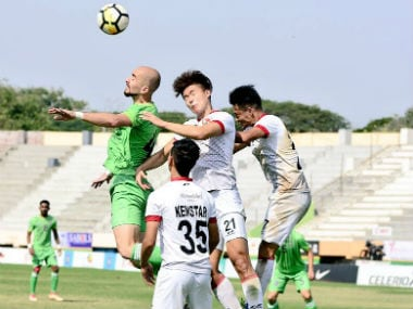 Shillong Lajong in action against Chennai City FC in an I-League match. Image Courtesy: Twitter @lajongfc