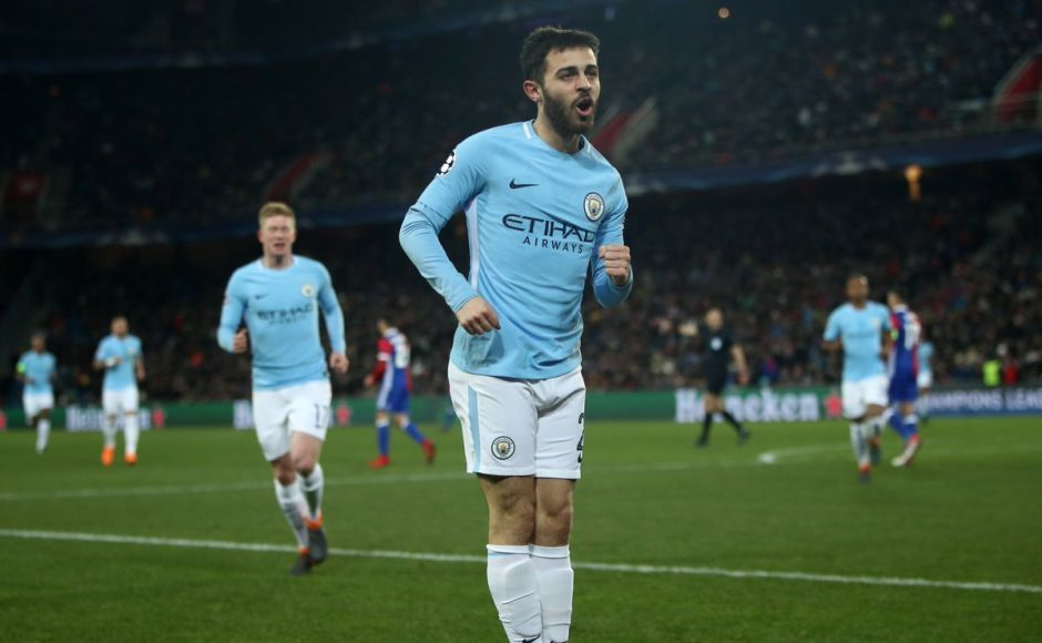 Bernardo Silva doubled City's lead in the 18th minute through a volley from Raheem Sterling's cross. Image courtesy: Twitter @ChampionsLeague