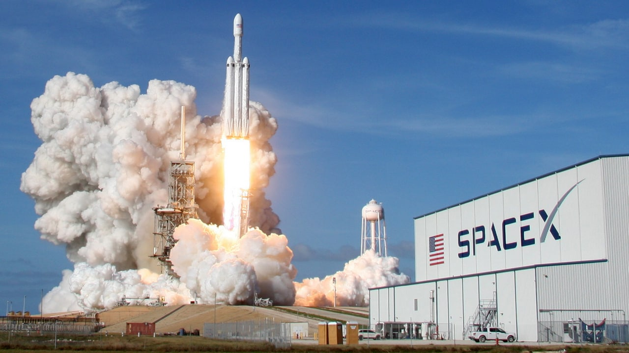 A SpaceX Falcon Heavy rocket lifts off from historic launch pad 39-A. Reuters