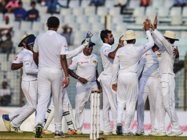 Rangana Nerath took three late wickets to leave Bangladesh reeling at the end of Day 4 of the 1st Test. Twitter/@OfficialSLC