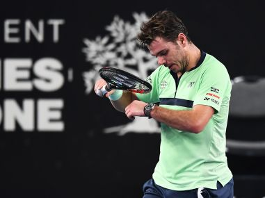 Stan Wawrinka reacts during his match against Ilya Ivashka at the ATP Marseille Open 13. AFP