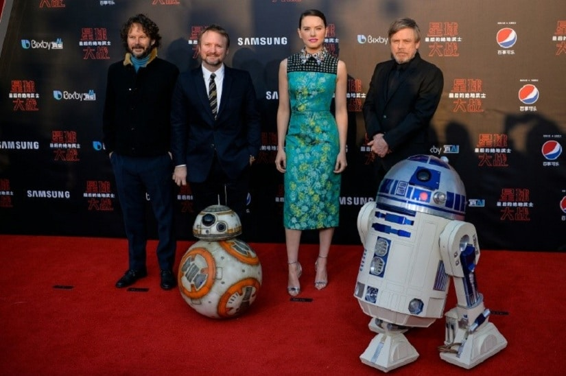 From left: Ram Bergman, Rian Johnson, Daisy Ridley and Mark Hamill pose for the Chinese premiere of Star Wars: The Last Jedi at the Shanghai Disney Resort. AFP/ Chandan Khanna
