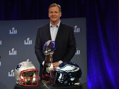 NFL commissioner Roger Goodell  poses with the Vince Lombardi trophy ahead of Super Bowl LII. Reuters