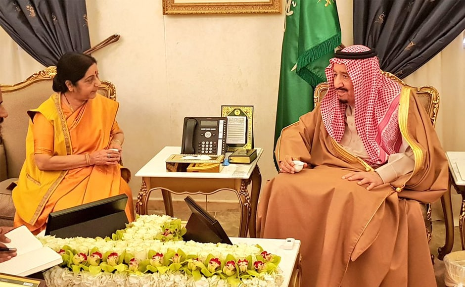 Sushma Swaraj in Riyadh: External affairs minister discusses trade and security with Saudi Arabia's King Salman