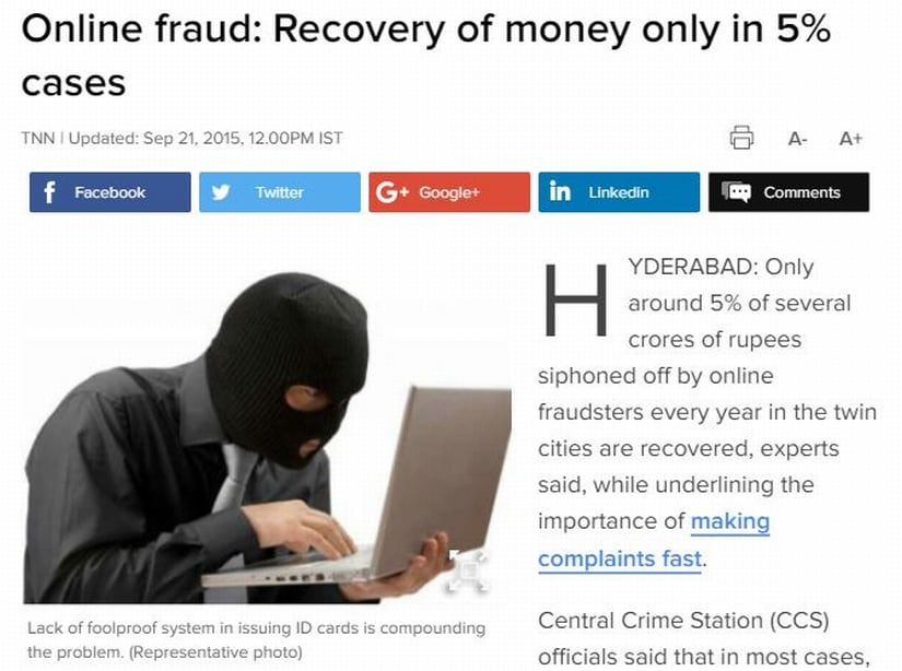 Online fraud. Image courtesy: The Times of India