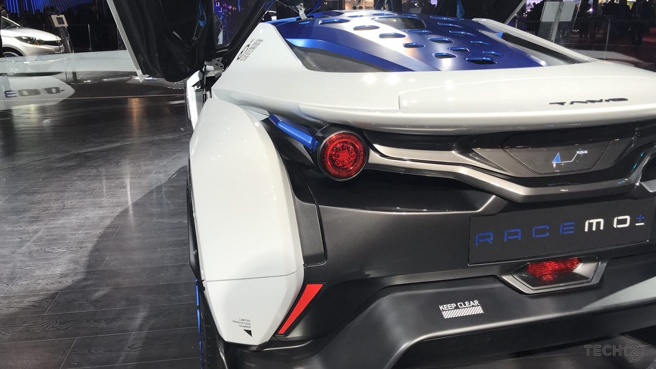Tata Motors RaceMo taillight displayed at the Auto Expo 2018.