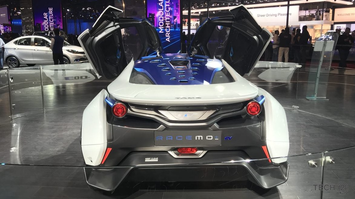 Tata Motors RaceMo from the rear side at the Auto Expo 2018.