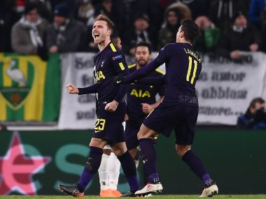 Christian Eriksen levels the game at 2-2 with a fine free-kick. AFP