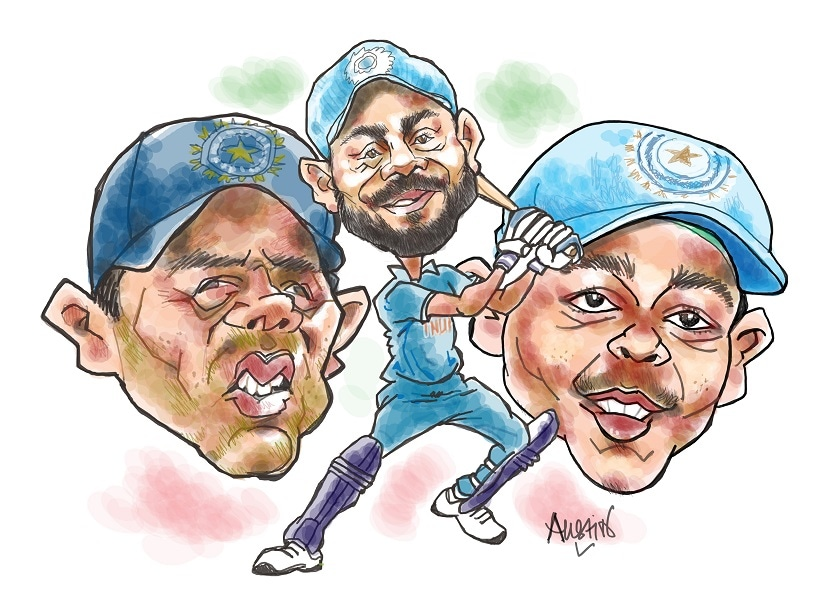 The Under-19 players of 2018 have so many role models to look up to, in Kohli, Sachin Tendulkar, their mentor Dravid and a few others. Illustration courtesy Austin Coutinho
