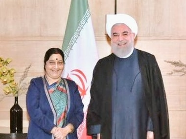 Sushma Swaraj meets Iranian president Hassan Rouhani in Delhi, discusses energy and connectivity issues