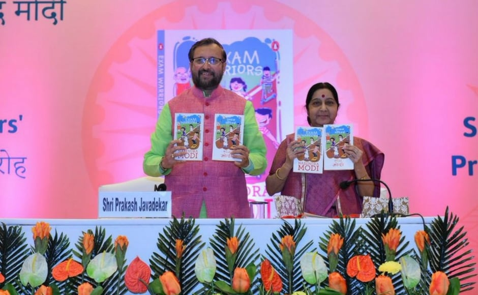 Union ministers Sushma Swaraj and Prakash Javadekar launched a book titled 'Exam Warriors' authored by Prime Minister Narendra Modi on Saturday. The book is a compilation of the prime minister's advice to students on dealing with exam stress.PTI