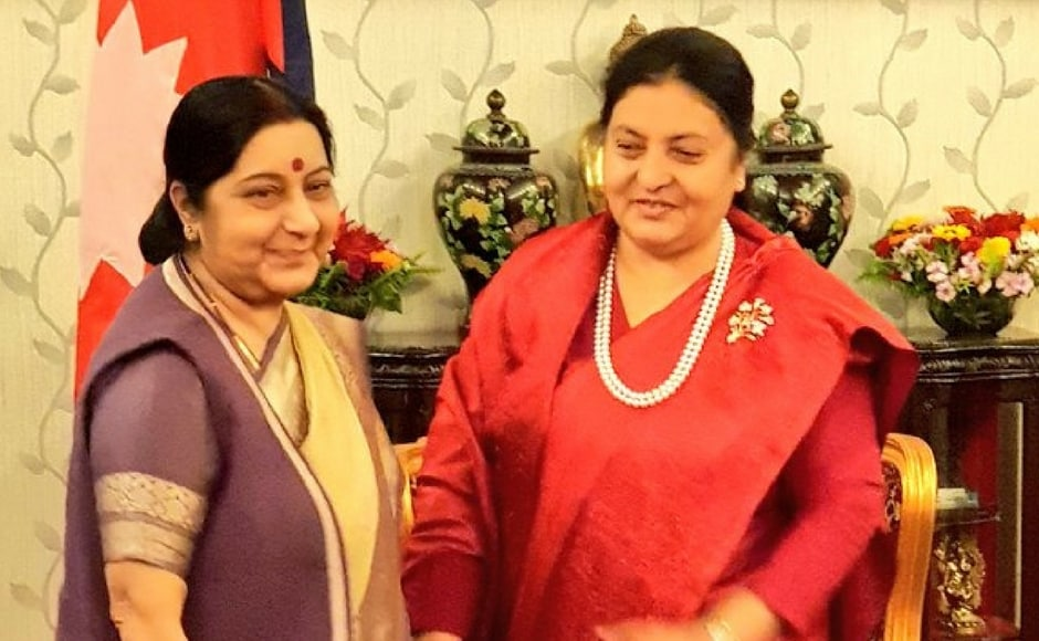 The minister paid a courtesy call on President of Nepal Bidya Devi Bhandari and congratulated her on the successful conduct of election in the country. Twitter@MEAIndia