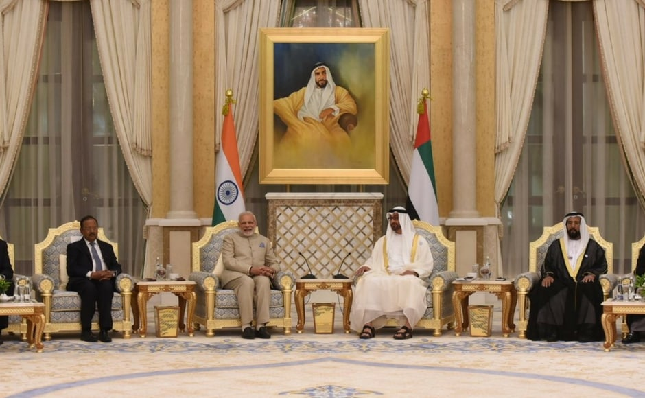 Modi, who is in Abu Dhabi on his second visit to the UAE, held wide-ranging talks with and Mohammed Bin Zayed and signed five agreements related to energy sector, railways, manpower and financial services . Twitter@narendramodi