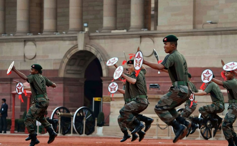 The PBG, army guard and sand artist took part in various activities at the Rashtrapati Bhavan on Friday. PTI
