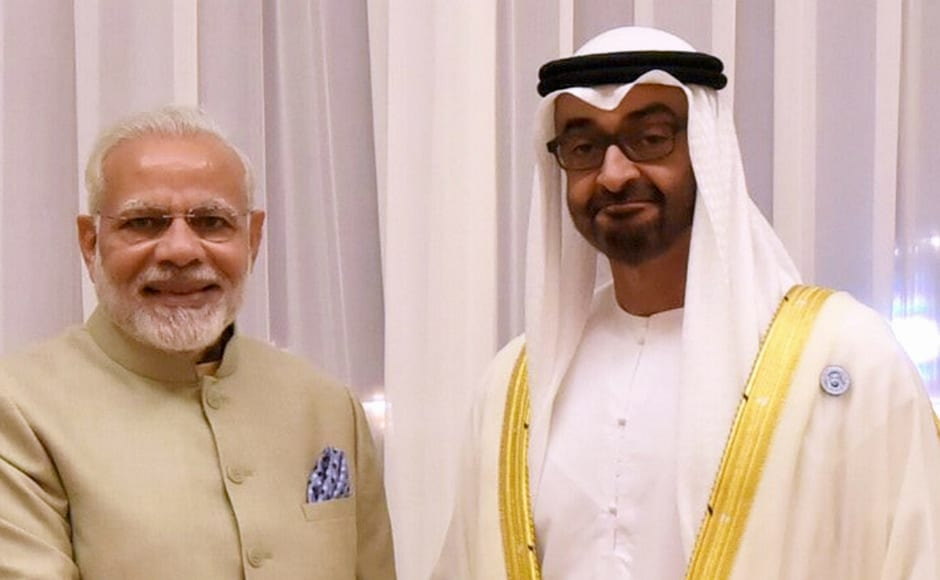 Modi, who arrived in Abu Dhabi from Jordan on the second leg of his three-nation tour, was received by Mohammed Bin Zayed and other members of the Royal family at the airport. PTI