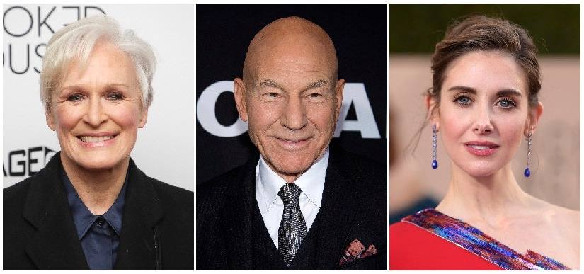 This combination photo shows actors Terry Crews, from left, Glenn Close, Patrick Stewart and Alsion Brie who will be among the presenters at the Writers Guild Awards and hosted by Patton Oswalt on Feb. 11. (AP Photo/File)