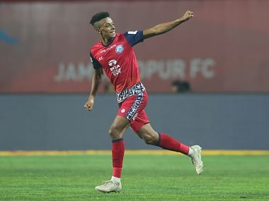 Wellington Priori of Jamshedpur FC celebrates the goal during match 69 of the Hero Indian Super League between Jamshedpur FC and NorthEast United FC held at the JRD Tata Sports Complex, Jamshedpur, India on the 10th February 2018 Photo by: Deepak Malik / ISL / SPORTZPICS