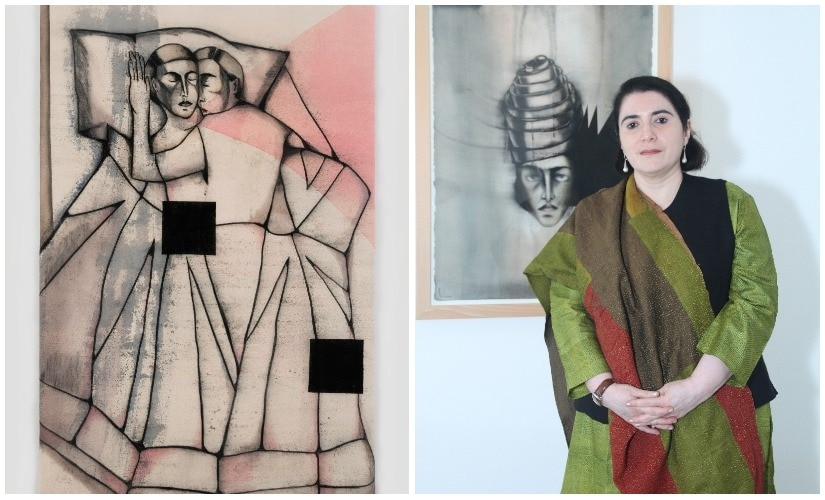 (L) Bedroom With Two Squares by Anju Dodiya; (R) the artist
