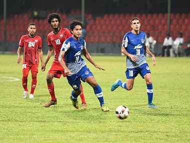 A frantic second half, which saw five goals including a brace from Semboi Haokip, means the Blues come away with a win against TC Sports Club. Image Courtesy: Twitter @BengaluruFC