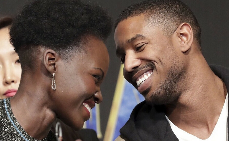 Lupita Nyong'o and Michael B Jordan in Seoul for the premiere of Black Panther/Image from Instagram/@marvelstudios
