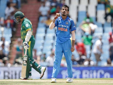 Indian bowler Yuzvendra Chahal celebrates the dismissal of South African batsman Chris Morris during the second ODI. AFP
