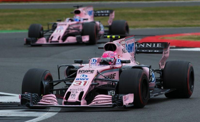 The Force India cars during the British Grand Prix of the Formula 1 2017 season - Esteban Ocon (front) & Sergio Perez (back). Reuters