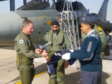 He flew a sortie in '#MadeinIndia' LCA Tejas aircraft at AF Stn Jodhpur today. Image courtesy: Twitter/IAF_MCC
