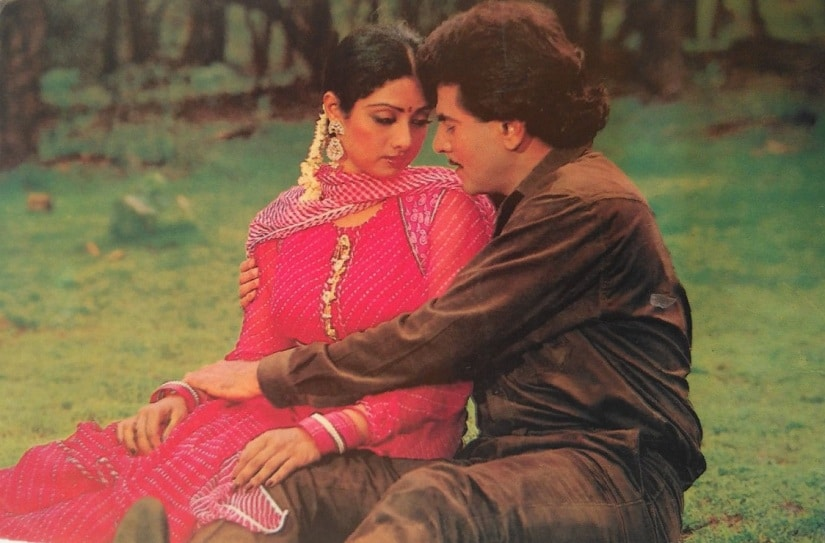 Sridevi and Jeetendra. Image from Twitter/@VintageMuVyz