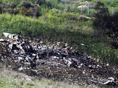 The remains of the Israeli plane. Reuters