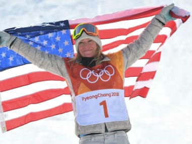 US Jamie Anderson celebrates after the women's snowboard slopestyle final event in the Winter Olympics 2018. AFP