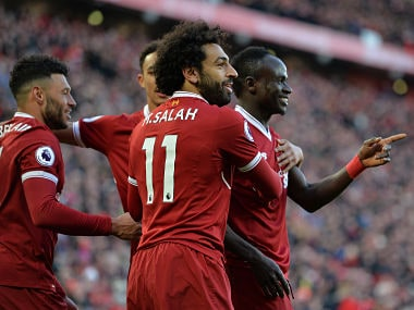 File image of Liverpool players celebrating a goal. Reuters