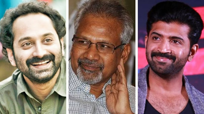 Malayalam star Fahadh Faasil, (left), Mani Ratnam and Arun Vijay (right). Facebook