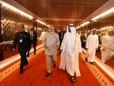 Narendra Modi along with the Crown Prince of Abu Dhabi. Twitter/@MEAIndia