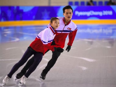North Korean figure skaters Ryom Tae-Ok (L) and Kim Ju-Sik attend a practice session at the Gangneung Ice Arena ahead of the Winter Olympics. AFP