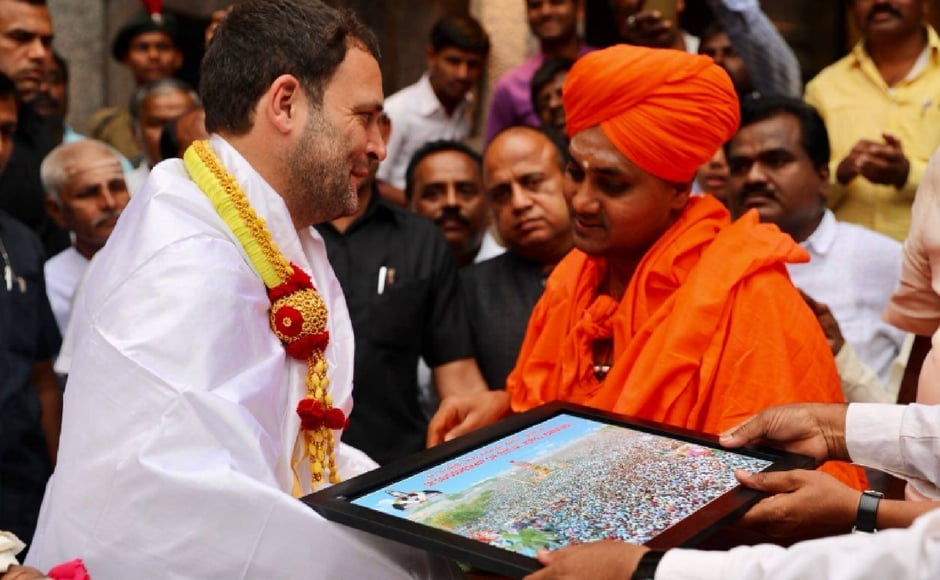 Rahul visited the Gavi Siddeswara Mutt, a mutt of the majority Lingayat community in Koppal. He wound up his whirlwind tour by addressing a public He then addressed a gathering at Kukanuru. PTI