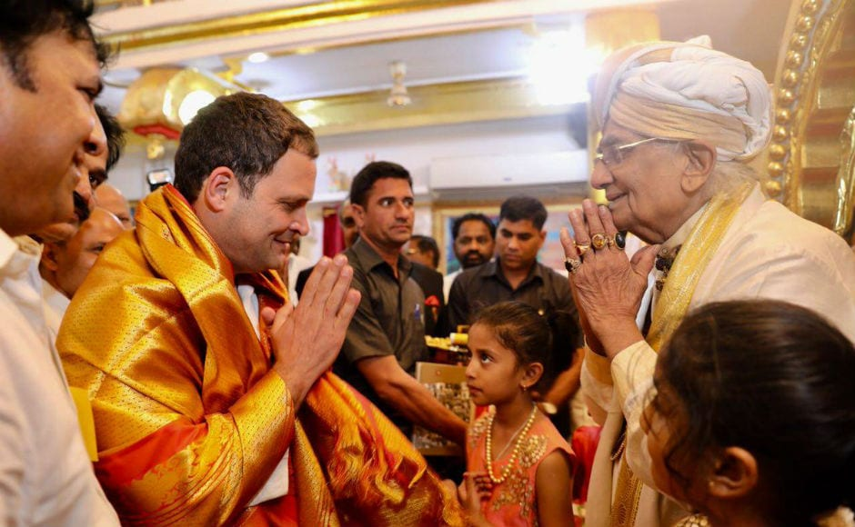 During the course of the day, Rahul also visited religious shrines. The Congress president visited Sharana Basaveshwara temple in Kalburgi. Twitter @INCIndia