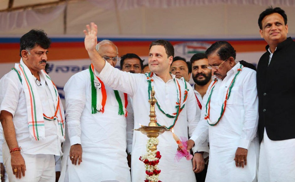 Congress president Rahul Gandhi addressed a rally in Gulbarga district's Jewargi on Monday. The Congress president is on a four-day 'Jana Aashirwada Yatre' in the state. Twitter @INCIndia