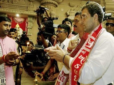 File image of Congress president Rahul Gandhi at a temple in Gujarat. PTI
