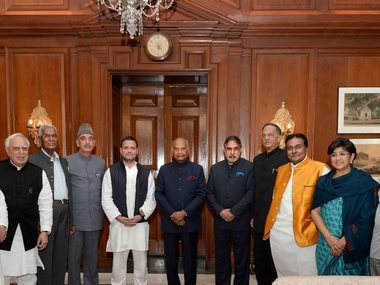 Congress president Rahul Gandhi and other Opposition leaders during the meeting with the President. PTI