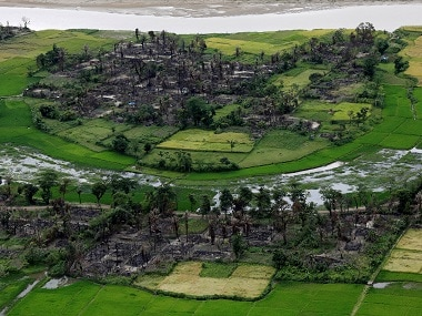 Aerial view of a burned Rohingya village near Maungdaw, north of Rakhine State. Reuters