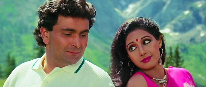 Sridevi with Rishi Kapoor in Chandni