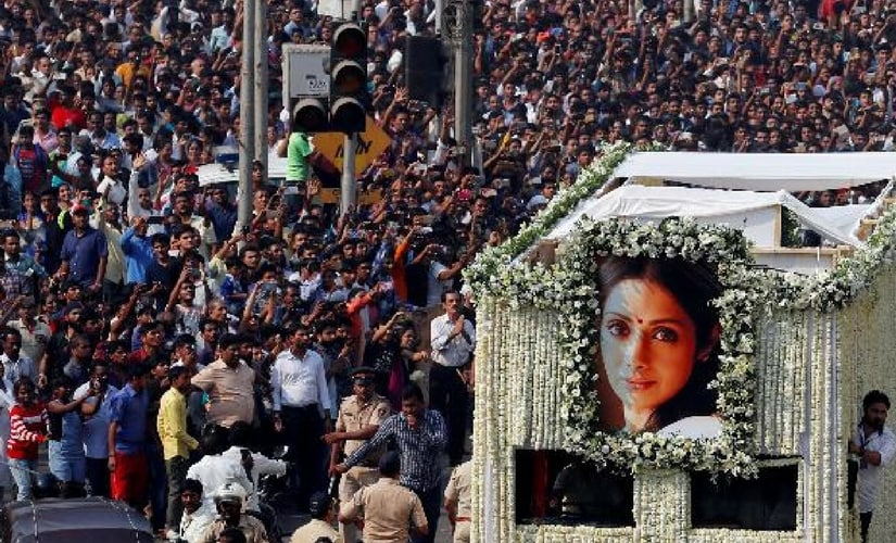 A view of Sridevi's funeral/Image from Twitter.