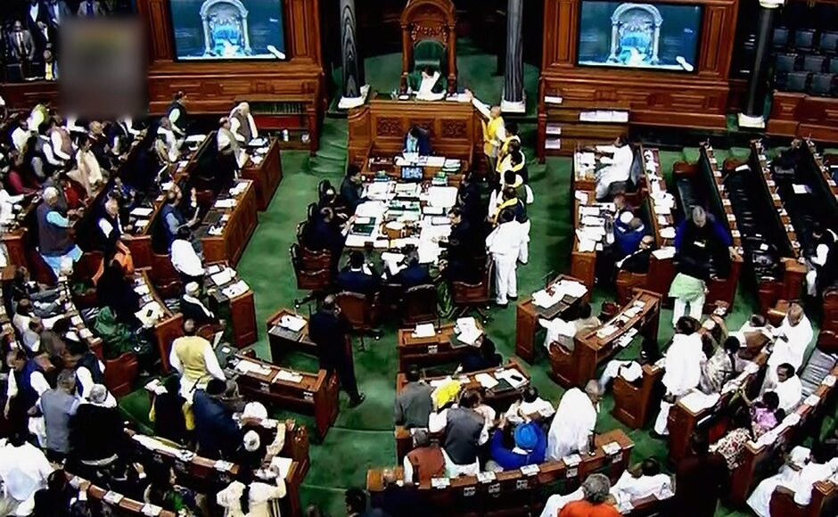The TDP MPs were wearing yellow scrves in protest. They later stormed the Well in Lok Sabha and demanded special package for Andhra Pradesh. However, ally BJP was able to persuade them to stop their protest before Modi's speech. But frequent sloganeering and questions like