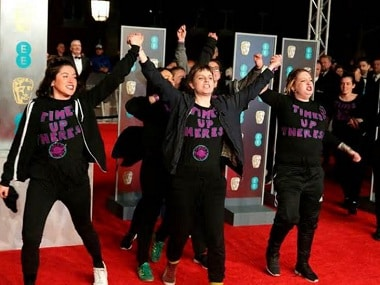 BAFTA 2018: Group of female protesters wearing 'Time's Up Theresa' T-shirts crash red carpet