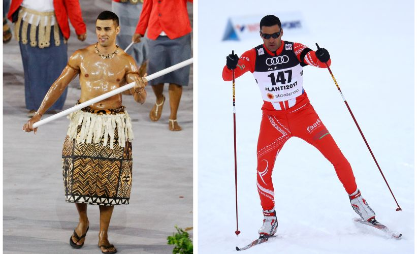 A combination of pictures shows Pita Taufatofua of Tonga during the Opening Ceremony of Rio Olympic Games (left) and competing in the cross country qualifications. REUTERS
