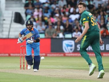 India captain Virat Kohli in action during the 1st ODI against South Africa. Image courtesy: Twitter @BCCI