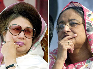 File image of Begum Khaleda Zia and Begum Sheikh Hasina. AFP