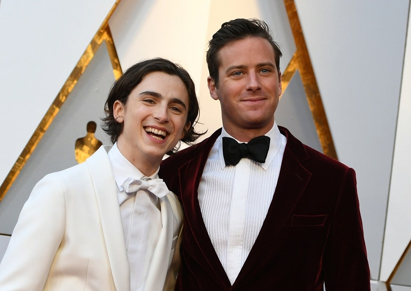 Actor Timothée Chalamet, left, and Actor Armie Hammer arrive for the 90th Annual Academy Awards on March 4, 2018, in Hollywood, California. / AFP PHOTO / VALERIE MACON